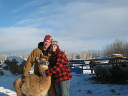 16-our llama and us at the farm